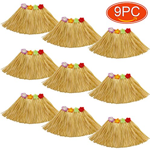 Elesa Miracle 9Pc Kids Girls Elastic Hawaiian Hibiscus Grass Hula Skirts Value Set Costume Luau Party Favors Hula Dancer Skirt, Tan, Yellow -