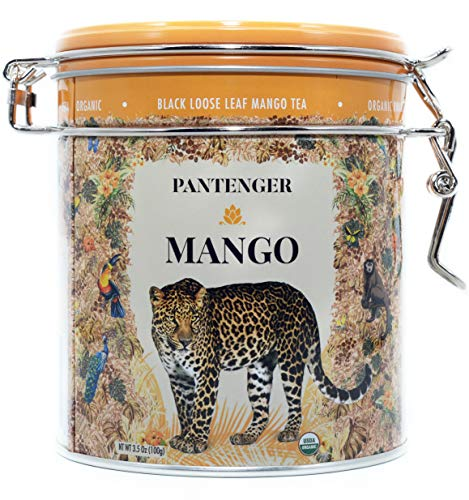 (Mango Tea. Mango Tea Loose Leaf 3.5 Oz. Finest USDA Organic Black Mango Tea. Pantenger Mango is a Tea Blend of Organic Black Tea Leaves with Mango Pieces and Marigold Petals. Drink Hot or Iced.)
