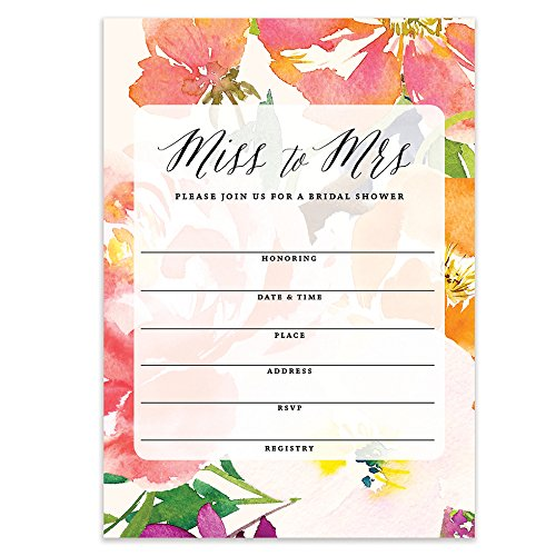 Bridal Shower Miss to Mrs Beautiful Tropical Watercolor Floral Fill-in-Style Blank Invitations with Envelopes (Pack of 25) Large 5x7