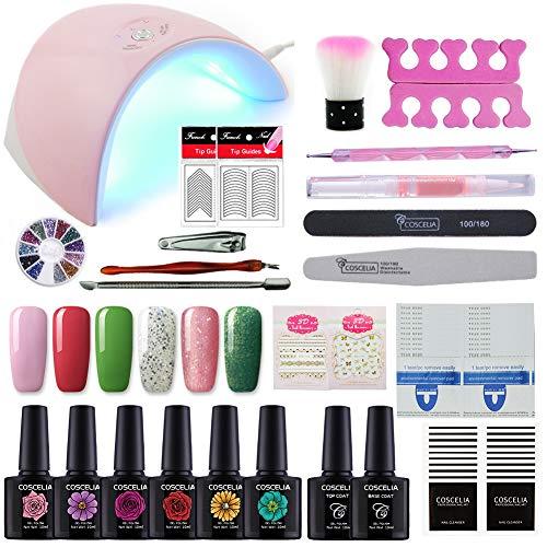- Coscelia 6 Colors Gel Nail Polish Starter Kit 36W Pink LED Nail Dryer lamp Base Top Coat Manicure Tools Nail Art Designs