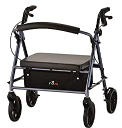 NOVA Medical Products 4239BL Vibe Petite Wide Rolling Walker, Blue