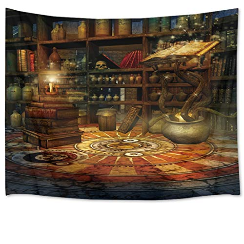 HVEST Halloween Tapestry Book Tapestry Wall Hangings Magic Books Skull in Witch's Castle Wall Blanket Bedroom Living Room Dorm Decor,60 W X 40 H inch
