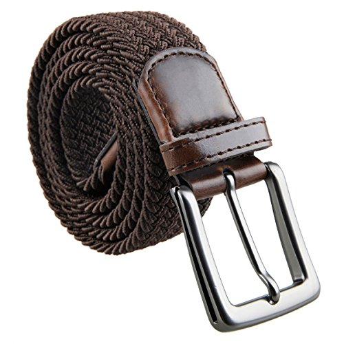 Mens Stretch Leather (moonsix Braided Stretch Belts for Men,PU Leather Elastic Fabric Woven Webbing Belt,Style 1-Coffee)