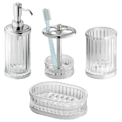 iDesign Alston Plastic Bath Countertop Accessory Set, Soap Dispenser Pump, Toothbrush Holder, Tumbler, Soap Dish for Master, Guest, Kid's Bathroom, College Dorm Room, Set of 4 Unique Pieces - Clear