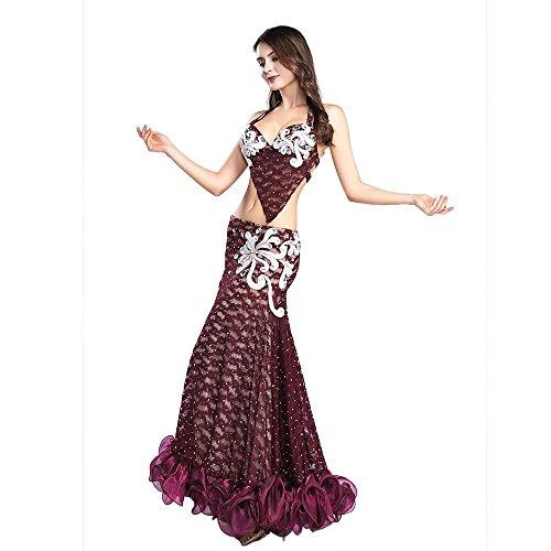 Y Sirena Vintage Traje Profesional Ropa Royal Sexy Encaje Del Jujube De Falda Vestir Danza Smeela Top Conjunto Sujetador Vientre Rojo Baile qwOf7U