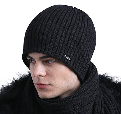 Classic Lined Hat - CACUSS Men's Classic Wool Beanie Hat Knit Skull Ski Caps with Fleece Lined (Z0261_Black)
