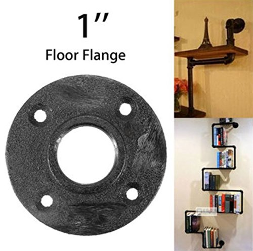 1 Inch Black Malleable Threaded Iron Floor Flange Steel Iron Pipe Fitting Wall Mount by (Steel Flange)