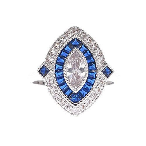 VIAMAR Jewelry Vintage Sapphire Blue Ring - Anchored with a Marquise Shaped Clear Cubic Zirconia Stone - Square Cut Stones - Brass Finished with Genuine Rhodium (Square Shaped Stones Ring)