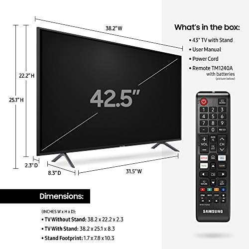 Samsung UN43RU7100FXZA Flat 43-Inch 4K UHD 7 Series Ultra HD Smart TV with HDR and Alexa Compatibility (2019 Model)