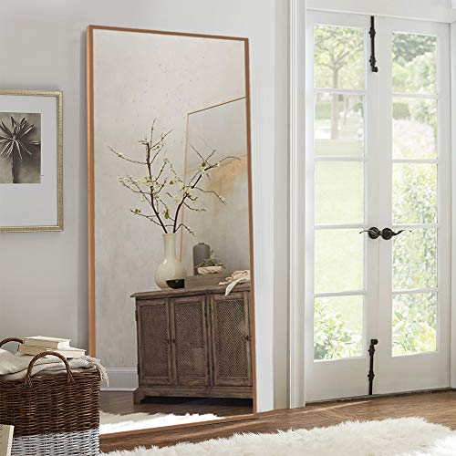Elevens Full Length Floor Mirror 65'x22' Large Rectangle Wall Mirror Standing Hanging or Leaning Against Wall for Bedroom, Dressing and Wall-Mounted Thin Frame Mirror - Burlywood