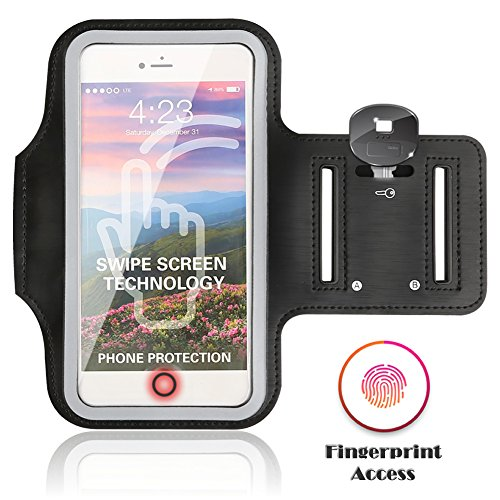 JULAM Sports Armband compatible with iPhone 7 6S 6 Plus Samsung Galaxy S8 S7 S6 S5 Edge Plus 5.8 Inch Cell Phone Case Sweatproof Adjustable Running Armbag (Fingerprint support - Black)