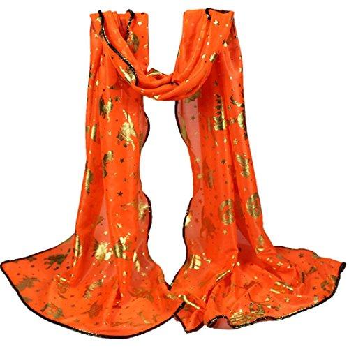 Winter Large Blanket Wrap Shawl, Winhurn scarfs for women lightweight Beautiful Fashion Voile Flower Long Size Women Scarf Wrap Satin-Silk Scarf NEW (Halloween C) (Halloween C)