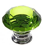 Green Kitchen Cabinets 30mm Crystal Glass Diamond Shape Cabinet Drawer Knob Pull Handle Cupboard Pulls Knobs for Kitchen Bathroom Cabinets Shutters (Green)
