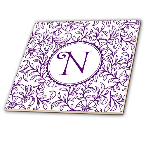(3dRose Russ Billington Monograms- Swirly Floral- Letter N - Letter N in Circle Over Swirly Floral Pattern in Purple and White - 12 Inch Ceramic Tile (ct_298832_4))