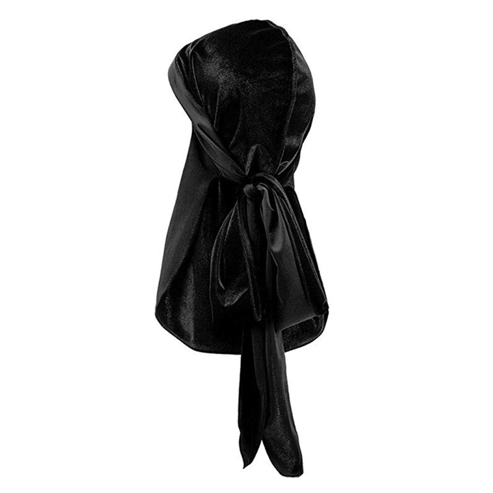 2PCS Silky Durags /& 2PCS Velvet Durags Long Tail Headwraps Soft Durag Pack for 360 Waves