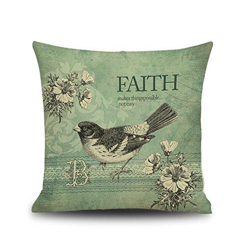 Cushion Cover Throw Pillow Bird 18 X 18 Inches Green
