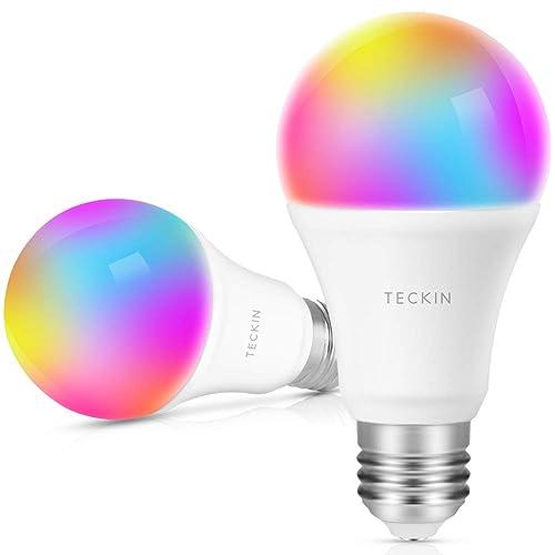TECKIN Bombilla LED inteligente con Luz Cálida WiFi ajustable y lámpara multicolor Funciona con Google Home y IFTTT E27 60W RGBW equivalente7 5W 2 paquetes