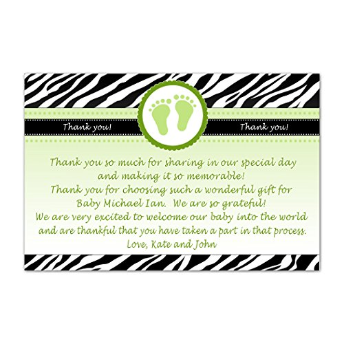 30 Personalized Thank You Cards Green Black Jungle Zebra Baby Feet Design Shower Party Photo Paper