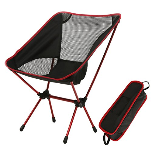 FDegage Folding Camping Ground Chair Full Back with Carrying Bag for Outdoor Fishing Hiking Picnic BBQ