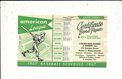 1957 National League Baseball Schedule Certificate Bond Paper from P&R publications