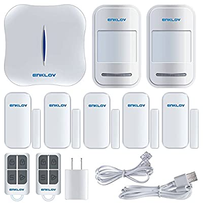 Enklov Wireless WiFi/Landline Home Security Alarm System DIY Kit with One Controller Hub,5 Pairs Door/Window Contact Sensor,2pcs PIR Motion Sensor,2pcs Remote Tag,App Control by Smartphone