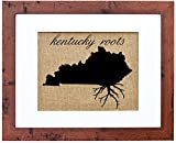 Fiber and Water Kentucky Roots Burlap Wall Art Decor, 8″ x 10″ Art, 11″ x 14″, Rustic Walnut Review
