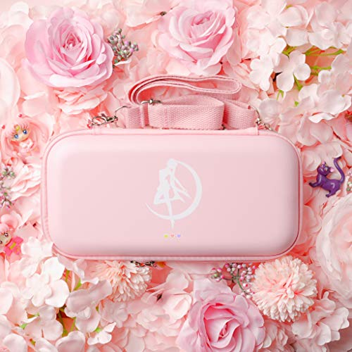BelugaDesign Moon Switch Carrying Case | Pastel Hard Travel Shell Compatible with Nintendo Switch | Cute Moon Silhouette Heart Magic Bow Design (Pink)