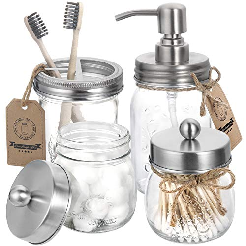 aozita Mason Jar Bathroom Accessories Set 4-Mason Jar Soap Dispenser & 2 Apothecary Jars & Toothbrush Holder-Rustic…