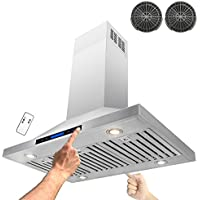 AKDY® 36 Stainless Steel Island Mount Dual LED Touch Control Panel Kitchen Ductless Range Hood w/ Remote