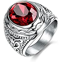 pimchanok Boys Class Stainless Steel Solitaire Oval Red Garnet Mens Finger Ring Band Gift (10)