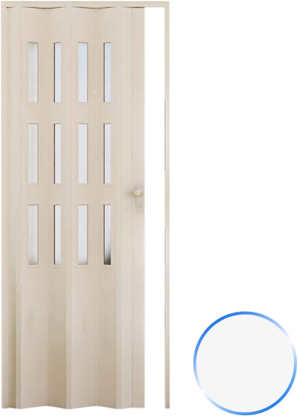 Forte Puerta Plegable de Interior de PVC 88,5x214 cm Blanco - Vidrio Satén Mod.Luciana