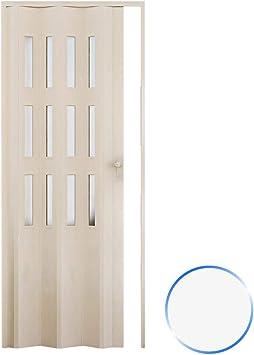 Forte Puerta Plegable de Interior de PVC 88,5x214 cm Blanco - Vidrio Satén Mod.Luciana: Amazon.es: Hogar