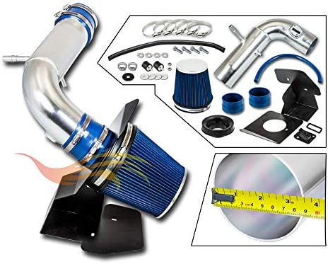 COLD AIR INTAKE w//HEAT SHIELD KIT Compatible For 11-18 Compatible ForD EXPLORER 3.5L RTUNES RACING BLUE