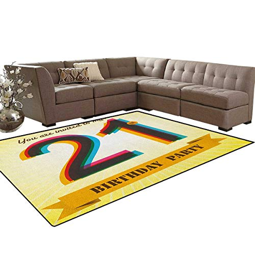 21st Birthday,Carpet,Invitation to an Amazing Birthday Party on a Golden Colored Backdrop Image,Rugs for Living Room,Multicolor Size:6'x9' -