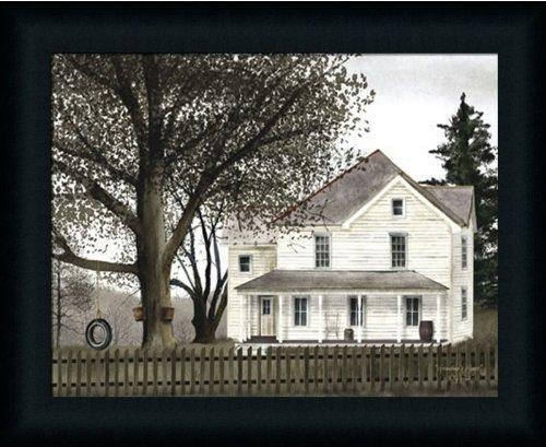 Primitive Folk Art Painting (Grandma's House by Billy Jacobs Primitive Folk Art Americana 19x15 in Framed Art Print Picture)