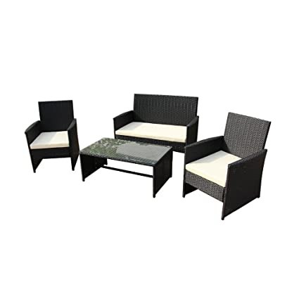 Charmant ALEKO RTCRM07BLK Seattle 4 Piece Polyethylene Wicker Rattan Outdoor Patio  Deck Furniture Set Coffee Table Love