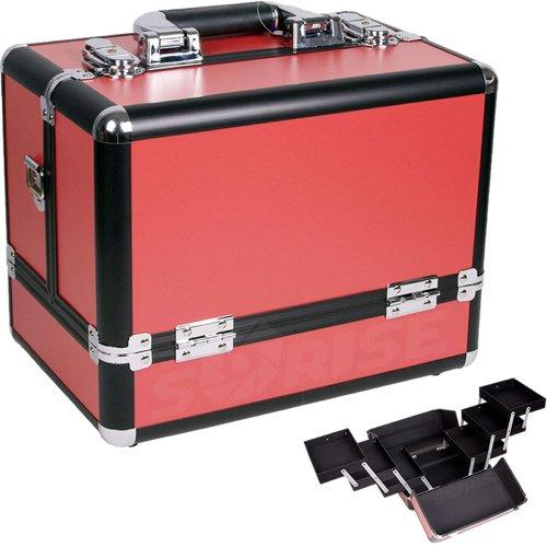 12 inch Red Panel w Black Trim Travel Cosmetic Organizer Makeup Artist Train Case