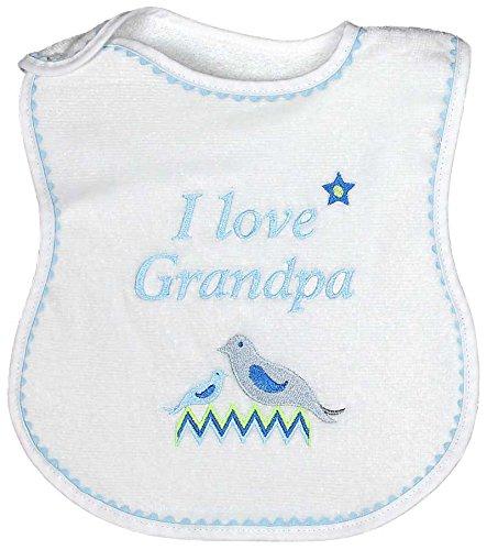 Raindrops I Love Grandpa Embroidered Bib, Blue/White