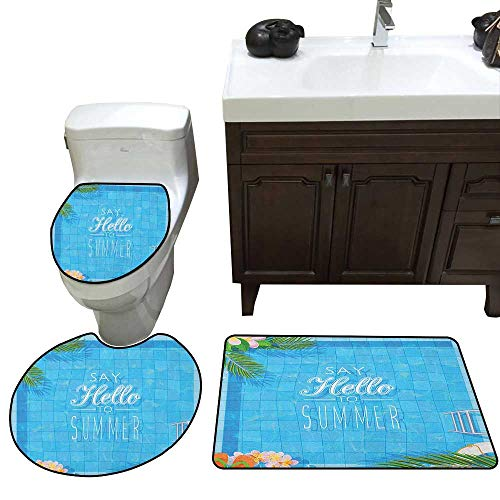 Moeeze-Home Quote Bath mat and Toilet mat Set Say Hello to The Summer Slogan on a Pool with Ladder Flip Flops and Flowers Design Print U-Shaped Toilet Mat Multicolor