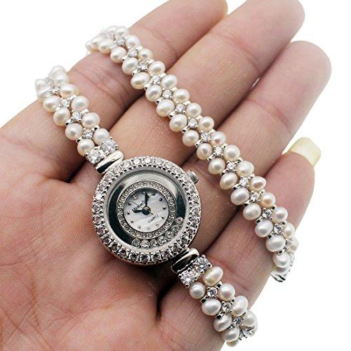Women Pearl Wristwatch Sterling Silver Dial Stainless Steel Bracelets Watch