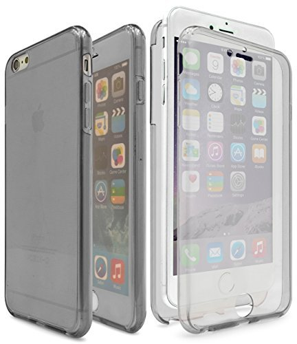 iPhone 6 / 6s Case,Bastex Slim Fit Front and Back Full Body Protective Crystal Two Pieces TPU Clear Cover Bumper with Smoke Tint, Wraps around and encases phone For Apple iPhone 6S ()
