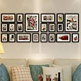 20 Frames Solid Wood Photo Wall Creative Living Room Corridor Photo Frame Combination Photo Wall ( Color : Black )