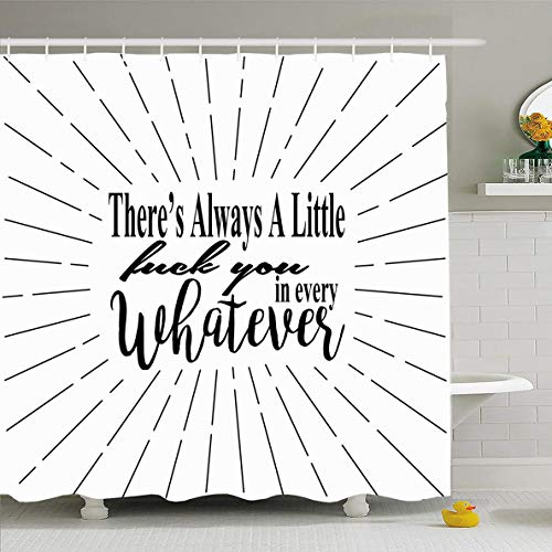 Ahawoso Shower Curtain 72x72 Inches Snarky SVG Fun Whimsical Quote Theres Always Little Attitude Bad Funny Hilarious Mean Design Waterproof Polyester Fabric Set with -