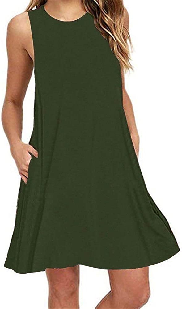 Casual Tshirt Dresses for Women Swing Tank Dress Knee Length with Pockets