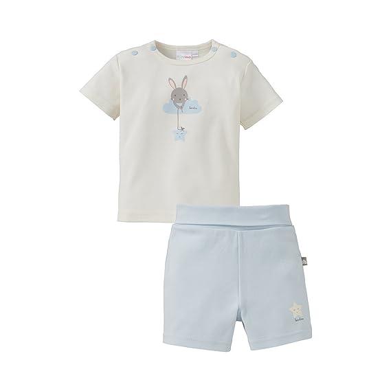 Bornino Schlafanzug kurz//Basics Baby Bekleidung//T-Shirt//Hose//Hasen-Print//Sternen-Print