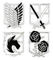 進撃の巨人 エンブレム 調査兵団 憲兵団 駐屯兵団 訓練兵団 タトゥー 刺青 シール 4種セットの商品画像