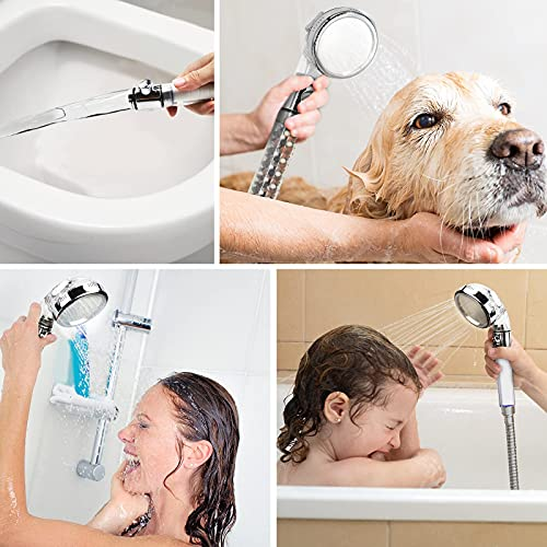 Shower Heads to Increase Pressure, Power Shower Handheld Filter Hard Water, Ionic Shower Head and Hose Set for Bath Taps, Holder Jet Boosting Clean Soften Rainfall Pipe Powerful Riser Saving