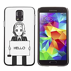 Design for Girls Plastic Cover Case FOR Samsung Galaxy S5 Hello Grey Anime Japanese Cartoon Message OBBA