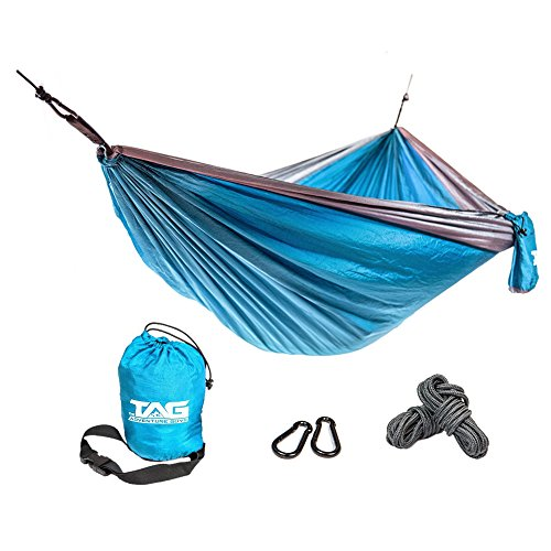 TAG Camping Hammock - Double Hammock is Spacious, Lightweight & Super Comfortable - Folding Parachute Portable Hammock is Perfect for Backpacking, Tree, Yard and Outdoor Travel (Guy Gifts)