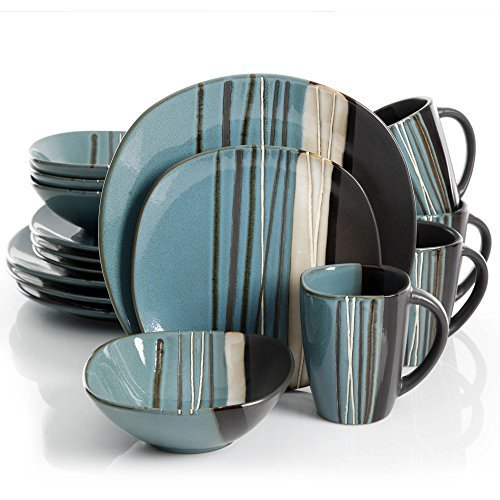 Better Homes and Gardens Reactive Glaze Stoneware Teal 16-Piece Dinnerware ()